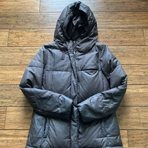 Brown Hooded Puffer Coat Parka